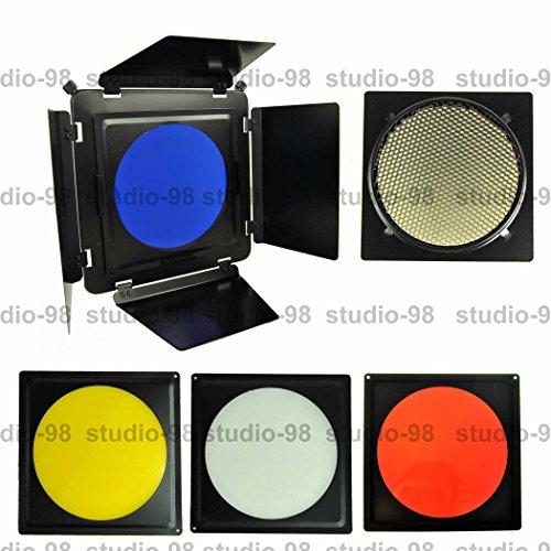 "Studio-98 4-leaf Photography Metal Barndoor Barn Door with Metal Grid & 4 Color Gel Set Mount on 7.5"", 8"" or Alien Bees 8.5"" High Output Reflector"
