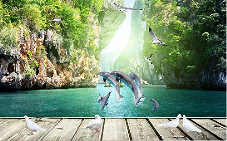 suministro directo de los fabricantes Weaeo Papel Papel Papel Tapiz 3D Mural Personalizado No Tejido 3D Papel Tapiz De La Habitación Delfines Bordo 3D Ajuste Foto Papel Tapiz De La Parojo Para Parojoes 3D-200X140Cm  deportes calientes