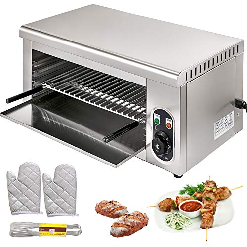 VBENLEM Salamander Broiler Countertop Grill 24 Inch Electric Cheesemelter 2000W Adjustable Grid Salamander Oven Stainless Steel 50-300℃ For Home and Commercial Use
