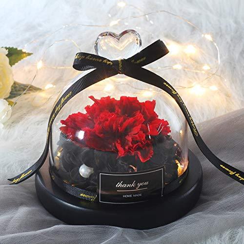 Belleza Y La Bestia Rose Flor Eterno Clavel En La Cúpula De Cristal Rosa Con Luz Led Para Madre