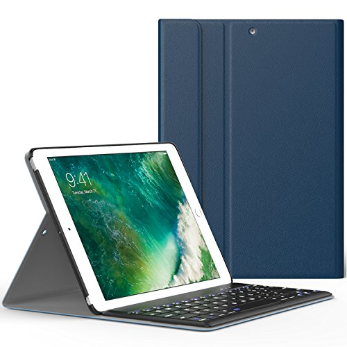 ATiC ipad 9.7 キーボードケース 2018/2017 脱着式キーボードカバー ワイヤレスBluetoothキーボード型 オートスリープ スタンド機能付き 超軽量 高級PUレザー 保護カバー iPad6 A1893, A1954 iPad5 A1822, A1823 INDIGO (iPad Pro 9.7に適応ない)