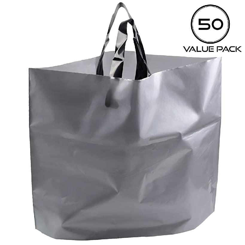 Retail Shopping Bags for Boutique - Large 14x18 Gift Bags with Handles Extra Thick Reusable Plastic Grocery Bags, 50pcs Bulk Gray