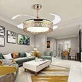 Ventilador de techo retráctil de 36 W y 42 pulgadas, con luz LED y mando a distancia, lámpara de ventilador, lámpara de araña, lámpara de ventilador, lámpara CCT regulable, color dorado
