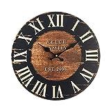 Rebecca Mobili Reloj de pared grande, relojes de pared, mdf, marrón negro, redondo, estilo industrial - Medidas Ø 33,8 cm x P 4 cm ( AxANxF) - Art. RE6152