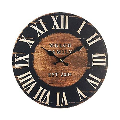 Rebecca Mobili Orologio da Parete Grande Orologi a Muro Mdf Marrone Nero Industrial Rotondo - Misure: 33.8 x 4 x 33.8 cm - Art. RE6152