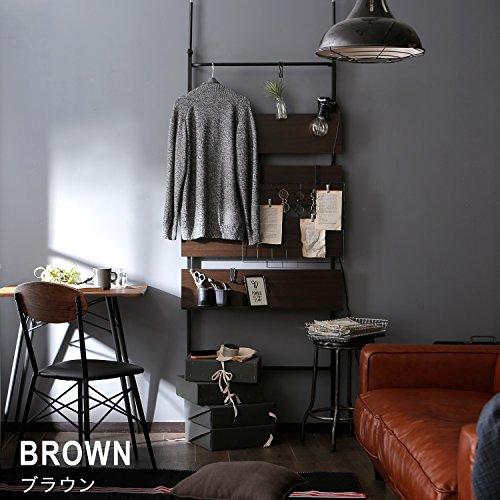 LOWYAパーテーションつっぱり間仕切りスクリーンラック壁面収納80cmブラウン