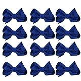 12 lazos de grogrén para el pelo con pinza, para niñas (4 azul marino)