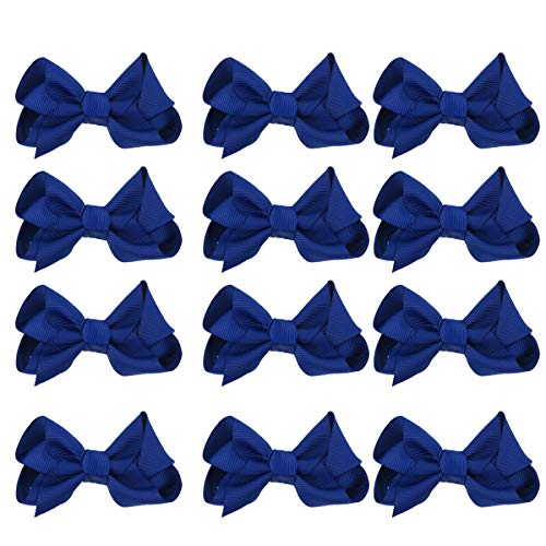 12pcs Girls Small Hair Bows Grosgrain Ribbon Boutique Bows Clip Bow Tie Lovely Colorful Barrettes Hairpins Hair Accessories for Kids Teens Party (4 Na