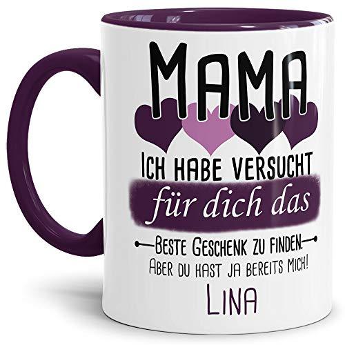 Tassendruck Geschenk Tasse mit Spruch PERSONALISIERT Mama von Kind - Kaffee-Tasse/Geschenkidee Geburtstag Muttertag/Muttertagsgeschenk - Innen & Henkel Violett