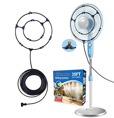Misting Fan Outdoor 35FT, Fan Mister Kit for Patio, Outdoor Fan Mister for Cooling, Misting Fans for Outside Patio, Water Fan Mist for Backyard, Patio Fan Misting System, Cool Mist Hose with 12 Nozzle