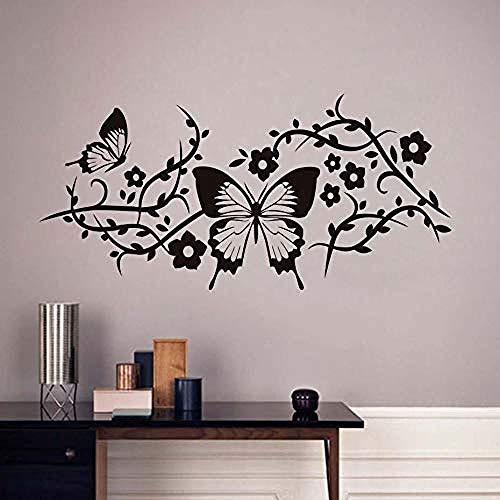 Hermosa mariposa etiqueta de la pared decoración de la sala flor árbol rama etiqueta de la pared decoración del hogar pegatina 55x115 cm