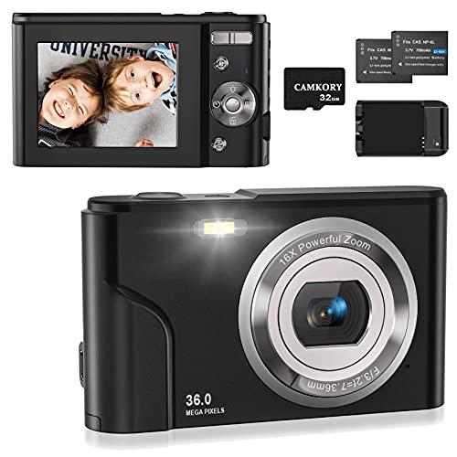 Fotocamera Digitale Compatte HD Macchina Fotografica, Ricaricabile Vlogging Mini Videocamera per Bambini Anziani Adulti Principianti,con Scheda SD da 32 GB, Caricabatterie, 2 Batteria, Nero Corvino