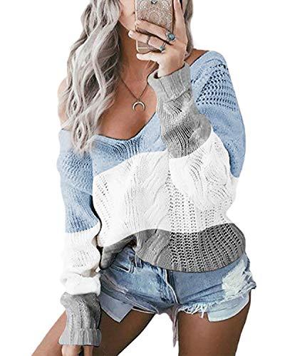 YOINS Oversize Pullover Damen Strickpullover Damen Sexy Off Shoulder Langarmshirt Schulterfrei V-Ausschnitt Causal T-Shirt,Blau/Weiß/Grau,L