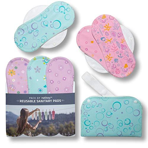 Compresas de tela reutilizables, pack de 6 compresas ecologicas de algodón puro con alas (de tamaños S y M) HECHAS EN LA UE, para menstruación, incontinencia; compresas lavables organico para mujer