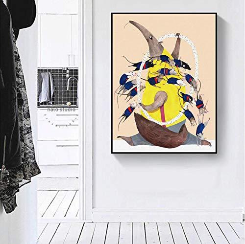 DIANFANBAO Decoración para el hogar Lienzo de Estilo nórdico Oso Hormiguero Moderno Pintura Imagen del ratón Arte de la Pared Impresiones Acuarela Modular para Sala de Estar Cartel 40X60 cm sin Marco