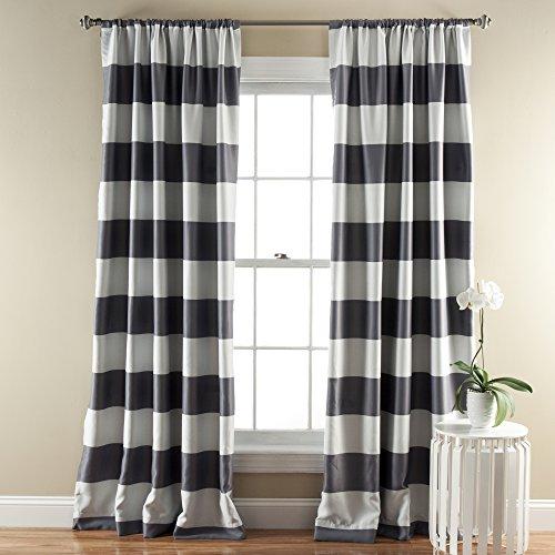 "Lush Decor, Gray Stripe Blackout Curtains   Room Darkening Window Panel Set (Pair), 84"" x 52, 84 x 52"