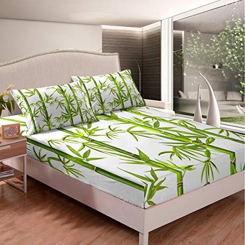Juego de sábanas de bambú para paisajes naturales, para niños y niñas con ilustración de plantas, con 2 fundas de almohada, 3 piezas de tamaño doble