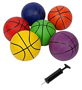 "Each basketball is regulation size 29.5"" size 7 Comes as a set of 6 in multicolors with pump Made of 600-650G durable rubber For indoor and outdoor use By Trademark Innovations"