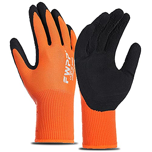 FWPP 12-Pairs Latex Coated Work Gloves, Firm Grip for Construction, Gardening Gloves for Men and Women (Size M Orange GL008005)