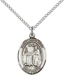 Sterling Silver St. Valentine of Rome Pendant with 18
