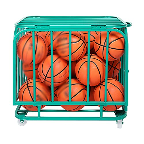 PTY Carro Grande de Almacenamiento de Pelotas Deportivas con Ruedas, Jaula de Pelotas apilable Plegable de Hierro/Organizador de Equipos Deportivos, para Baloncesto, fútbol, Azul