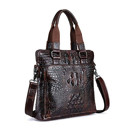 LaLa POP Men's Bag Men's Business Vertical Cowhide Crocodile Handbag With Oil Wax Head And Cowhide Cross-body Bag 30 * 29 * 8CM