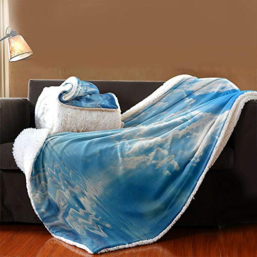 INFANDW Sherpa Fleece Throw Blanket, 3D Digital Printing Double-Sided Super Soft Luxurious Plush Blanket for Bed, Couch and Travel(53 inch x 59 inch, Blue Sky With White Clouds)