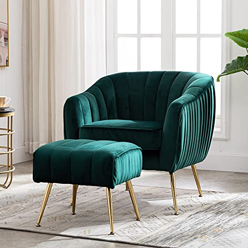 Artechworks Modern Velvet Armchairs Accent Tub Chair with Footstool Ottoman Green Occasional Lounge Sofa Chairs Set with Gold Metal Legs for Living Room Bedroom Home Office Funiture Dark Green