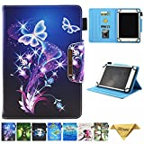 JZCreater 6.5-7.5 Inch Tablet Universal Case, Stand Wallet Case for Samsung Galaxy Tab/F ire 7.0 2015 2017/ Huawei Mediapad/Google and More 6.5'-7.5' inch Table, Purple Butterfly