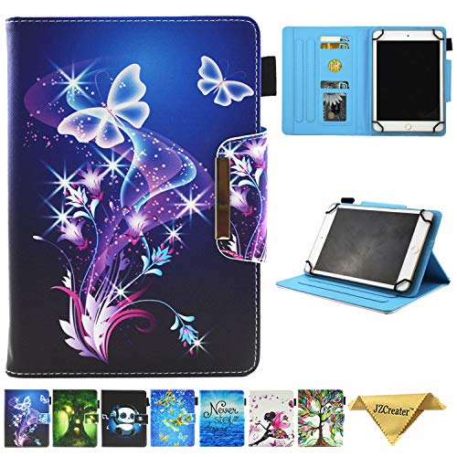"""JZCreater 6.5-7.5 Inch Tablet Universal Case, Stand Wallet Case for Samsung Galaxy Tab/F ire 7.0 2015 2017/ Huawei Mediapad/Google and More 6.5""""-7.5"""" inch Table, Purple Butterfly"""