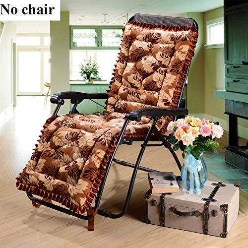 HM&DX Flannel Folding Chair Cushion Detachable Cover, Padded Soft Lounge Chair Cushion Without Chair Washable Rocking Chair Pad Garden-Leaf 53x160cm(21x63inch)