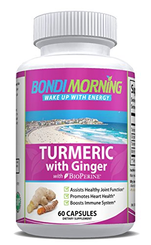 Turmeric Curcumin with Ginger & Bioperine - High Potency Anti-Inflammatory for Maximum Pain Relief and Joint Support, Non GMO Nutritional Supplement. 60 Capsules.
