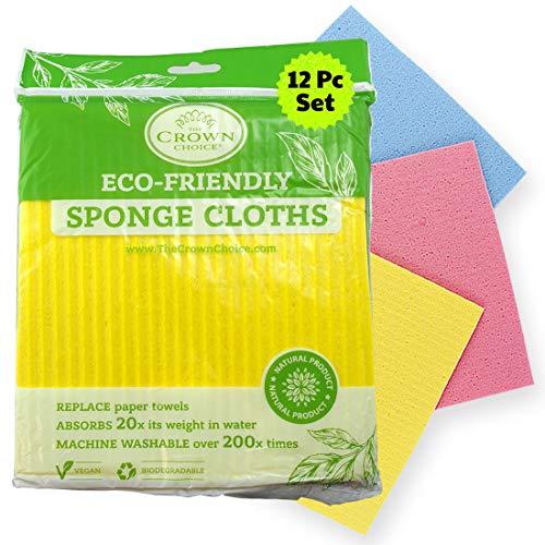 NO Odor Swedish Sponge Cloth (Bulk 12 Pcs) | Natural, Biodegradable, Vegan | Eco-Friendly Reusable Paper Towel Replacement Cleaning Cloths for Kitchen Home