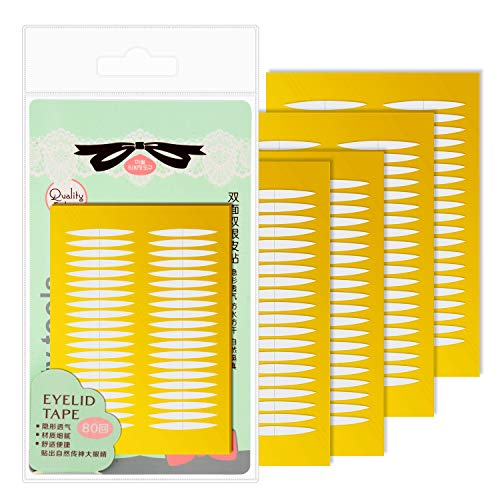 Double Sides Sticky Invisible Fiber Eyelid Tape Stickers-Perfect for Hooded, Droopy, Uneven, or Mono-eyelids-Instant Eye Lift Without Surgery (80 Pairs)
