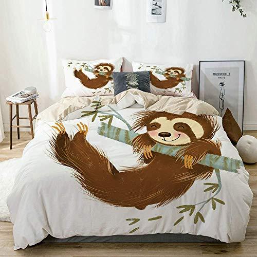 Juego de funda nórdica beige, feliz y alegre animal columpiándose en la rama de un árbol Ilustración de dibujos animados dibujados a mano, juego de cama decorativo de 3 piezas con 2 fundas de almohada