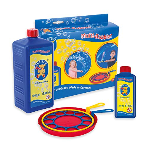 Pustefix Multi-Bubbler + Nachfüllflasche Maxi 1 Liter I Bunte Bubbles Made in Germany I Seifenblasen Spielzeug für Hochzeit, Kindergeburtstag, Polterabend I Große Seifenblasen für Kinder & Erwachsene