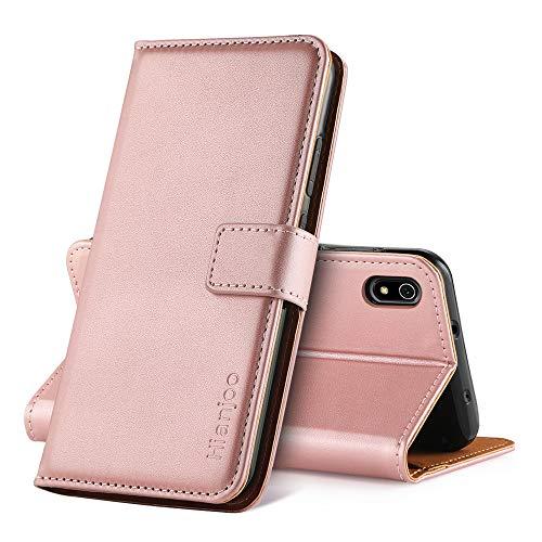 Hianjoo Hülle Kompatibel für Xiaomi Redmi 7A, Handyhülle Tasche Premium Leder Flip Wallet Hülle Kompatibel für Xiaomi Redmi 7A [Standfunktion/Kartenfächern/Magnetic Closure Snap] - Rosa