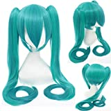 120Cm Hatsune Miku Synthetic Cosplay Wig Straight White Blue Anime Hair Halloween Costume Womens Wigs With Double Clip Ponytails 21