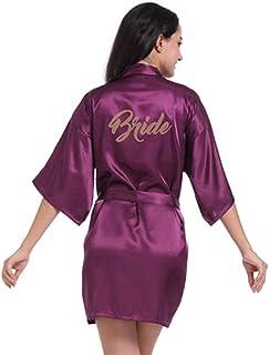 la Simplicité Élégante Des Femmes 'Kimono Satin Robe, V-Cou Longue Robe Vêtements de Nuit avec une Robe de Mariée Mariage ...