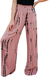 Hellomiko Women High Waist Print Hose Lässige Yoga Party Home Wear Lose Weite Hosen