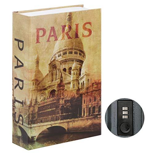 Parrency Buchsafe mit Zahlenschloss, versteckter Safe Lock Box, groß, Medium, 22 x 15 x 3.8 cm - Medium, Paris, SBH-MM-M004