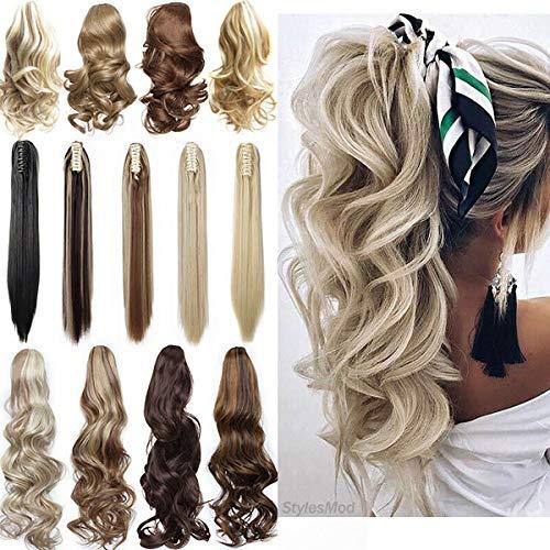 Clip in Extensions Zopf Pferdeschwanz Haarverlängerung Lang Ein Tressen Kralle auf Haarteil Claw on Ponytail 60cm - Gewellt, Graublond Mix Bleichmittel Blond