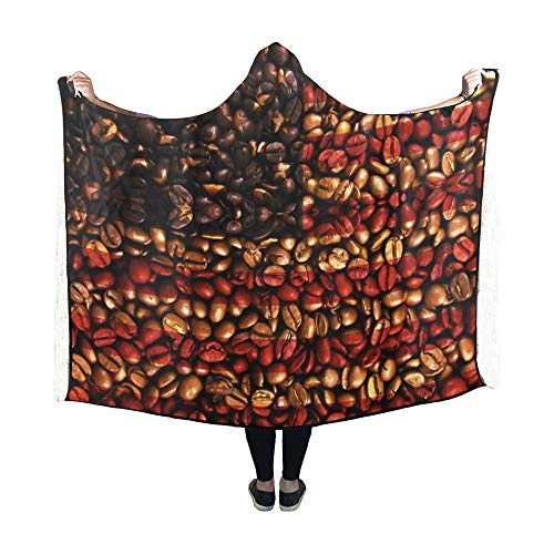 Yushg Mit Kapuze Decke USA Flagge Kaffeebohnen Decke 60 x 50 Zoll Comfotable Hooded Throw Wrap