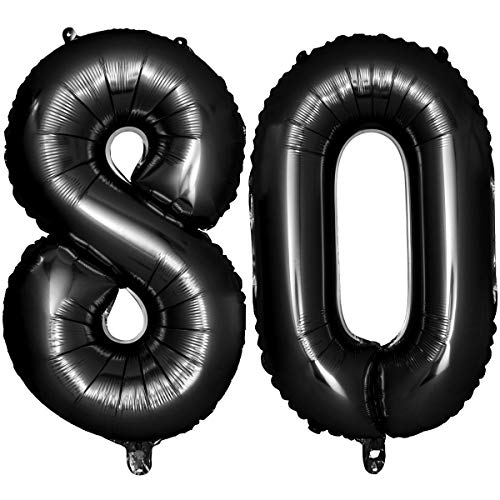 Iwinna 40 Black Number Balloons 80th Jumbo Foil Balloon for Birthday Anniversary Party Decoration