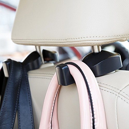 IPELY Universal Car Vehicle Back Seat Headrest Hanger Holder Hook for Bag Purse Cloth Grocery (Black -Set of 2)