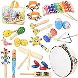 Rabing Kinder Musikinstrumenten Spielzeug Set, Hölzernes Musikinstrumentkindertamburin-Xylophonspielzeug, Musikspielzeugrucksack der...
