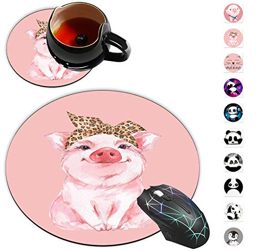 Round Mouse Pad and Coaster Set, Pig Cute Piggy Wearing Leopard Bandanna Mousepad, Non-Slip Rubber Base Gaming Mouse Pads for Working Or Game