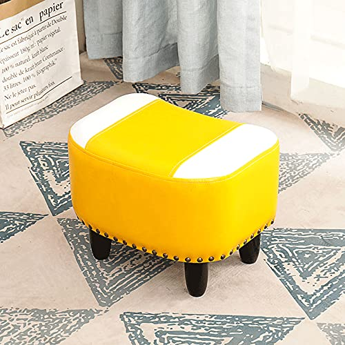 Taburete pequeño rústico retro, reposapiés de cuero para el hogar, taburete de madera maciza para sofá otomano, almacenamiento apilable, esponja elástica alta, montaje simple, adecuado para sofás, m