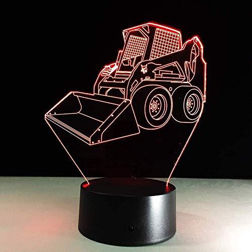 Nachtlampje, 3D-nachtlampje, cool bulldozer remote schakelaar, snoer voor kinderen, slaapkamer, energie besparen