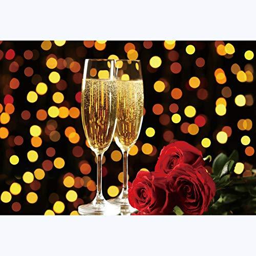YongFoto 3x2m Weihnachten Fotografie Hintergrund Champagner Weinglas Rose Hintergrund Gelb Bokeh Halos Punkte Neujahr Foto Hintergrund Fotografie Party Porträt Foto Requisiten